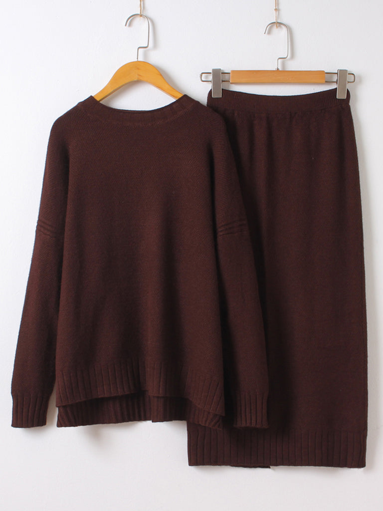 Women's 2Pcs Skirt Suits Solid Color Knitwear Split Skirt Suits