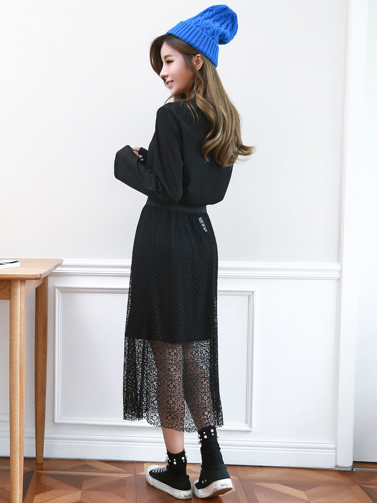 Women's 2Pcs Long Sleeve Slim Dress Aline Skirt Suit