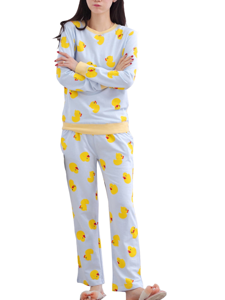 Women's Pajama Set Cute Duck Cartoon Graphic O Neck Long Sleeve Cozy Home Suit