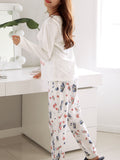 Women's Sleepwear Set Cute Dog Pattern O Neck Long Sleeve Causal Home Suit