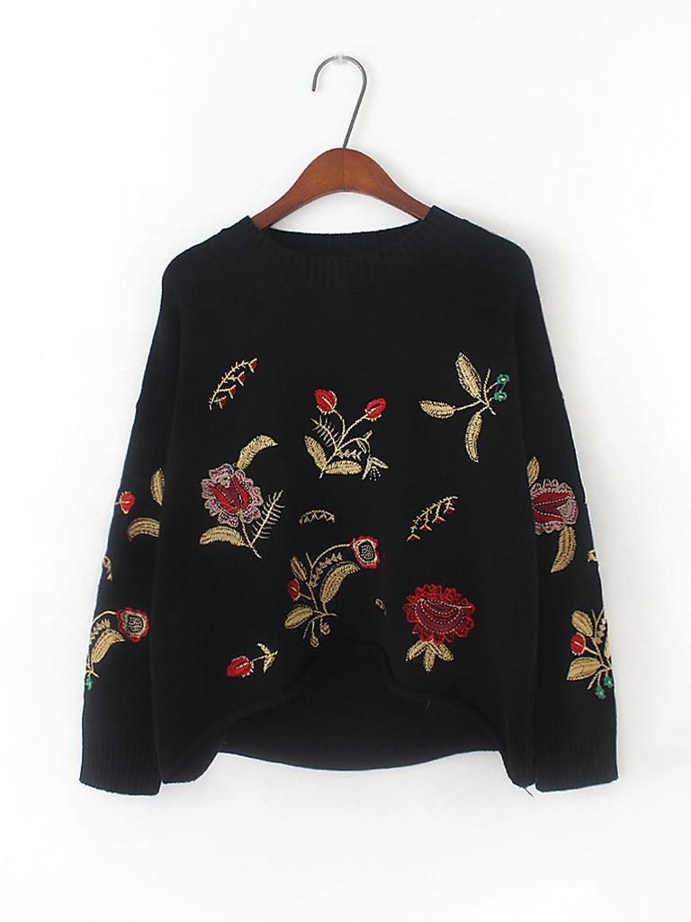 Women's Pullover O Neck Long Sleeve High Low Embroidery Loose Knitwear