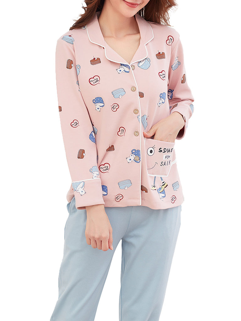 Women's Sleepwear Cute Cartoon Graphic Turn Down Collar Long Sleeve Pajama Set