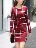 Women's Skirt Suits Plaid Sweater Slim Skirt Suits