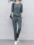 Women's 2Pcs Long Sleeve Print T Shirt Slim Pants Sports Suit