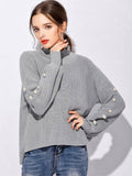 Women's Pullover Long Sleeve Solid Color Beading All Match Knitwear