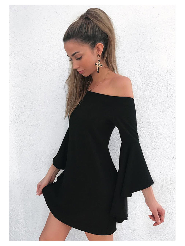 Women's Dress Slash Neck Striped Flare Sleeve Dress