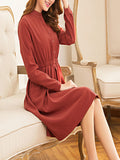 Women's Aline Dress Stand Collar Solid Color Slim Dress