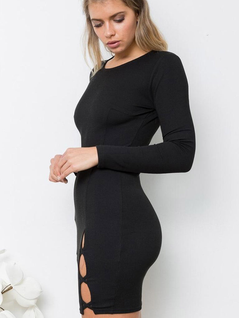 Women's Sheath Dress Long Sleeve Hollow Out Solid Color Mini Sexy Dress