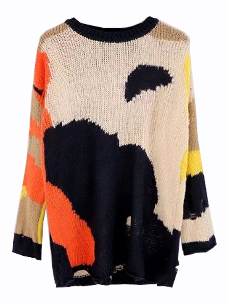 Women's Sweater Color Block Loose Pullover