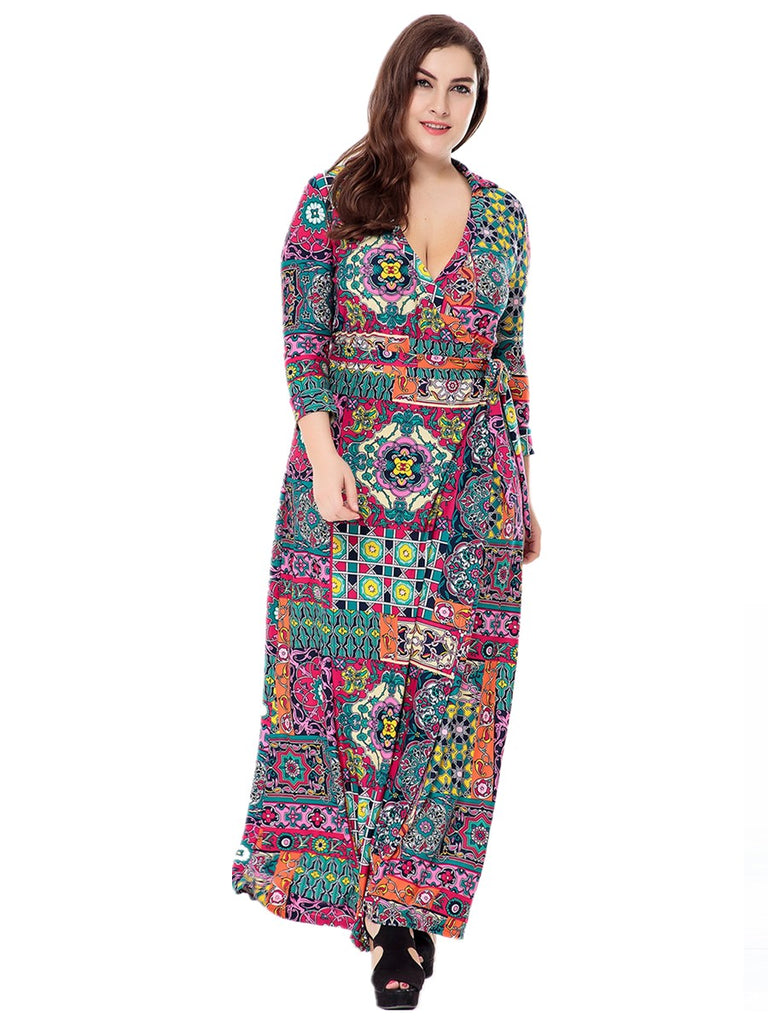 Women's Sheath Dress Floral Pattern Plus Size Ethnic Dress