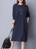 Women's Dress Stripe Pattern Long Sleeve Casual Dress