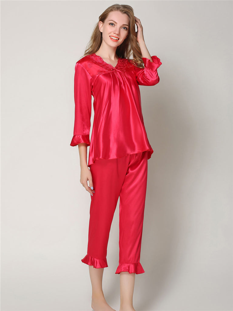 Women's Pajama Set Solid Color Ruffle Hem Floral V Neck Three Quarter Sleeve Home Suit