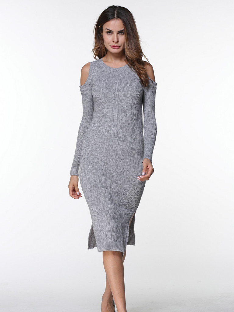 Women's Sweater Dress Simple Solid Split Midi Sweater Dress