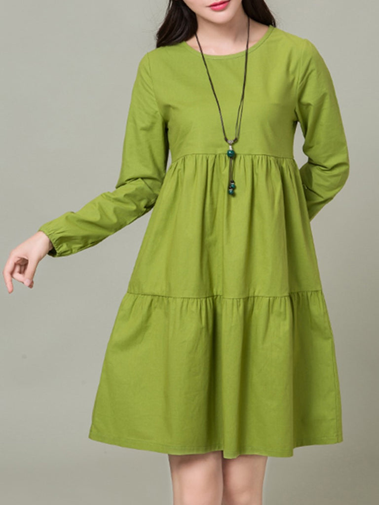 Women's A Line Dress Solid Color Long Sleeve Plus Size Dress