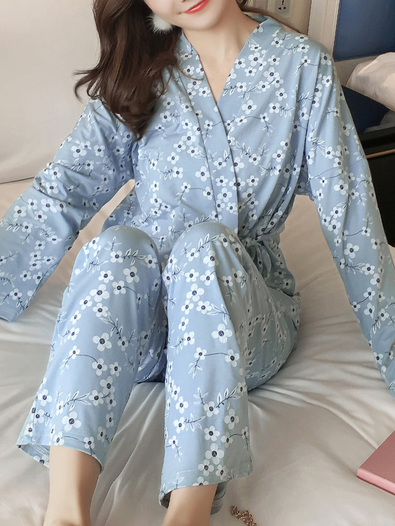 Women's Pajama Set Sweet Little Floral V Neck Long Sleeve Comfortable Home Suit