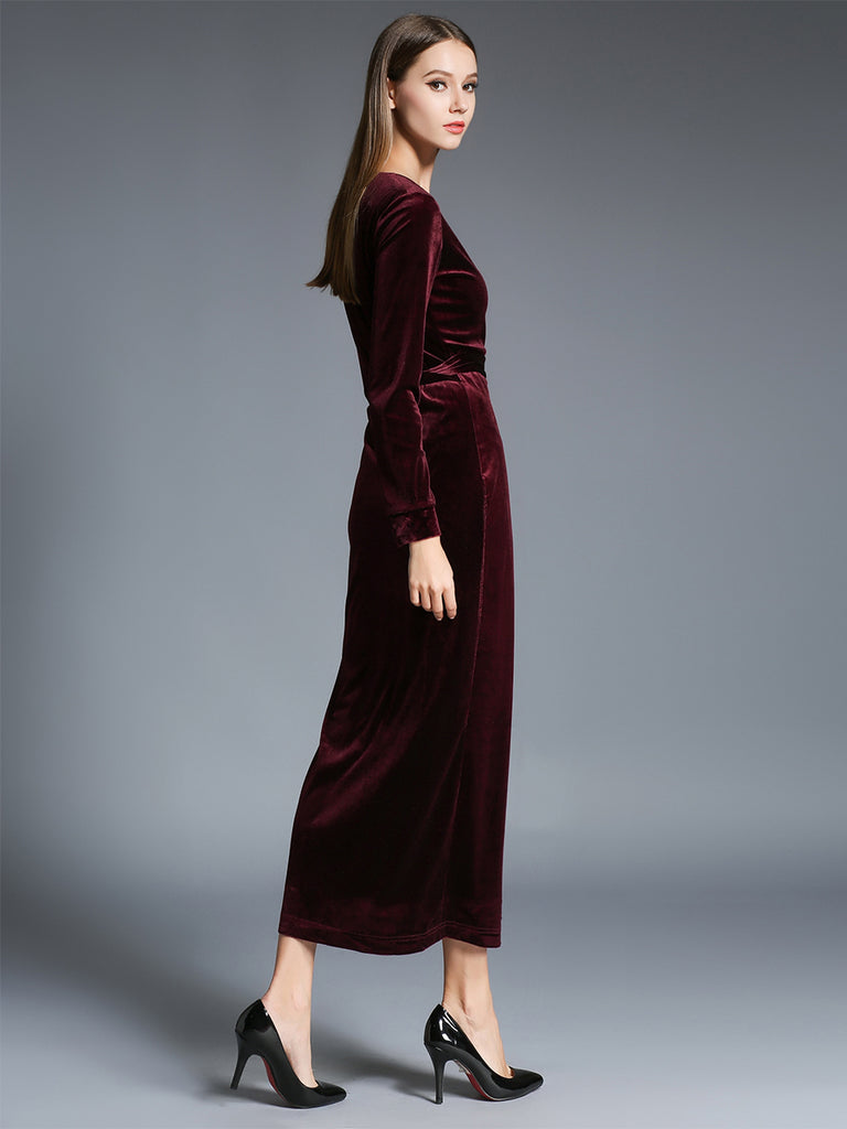 Women's Sheath Dress V Neck Solid Color Slim Maxi Long Dress