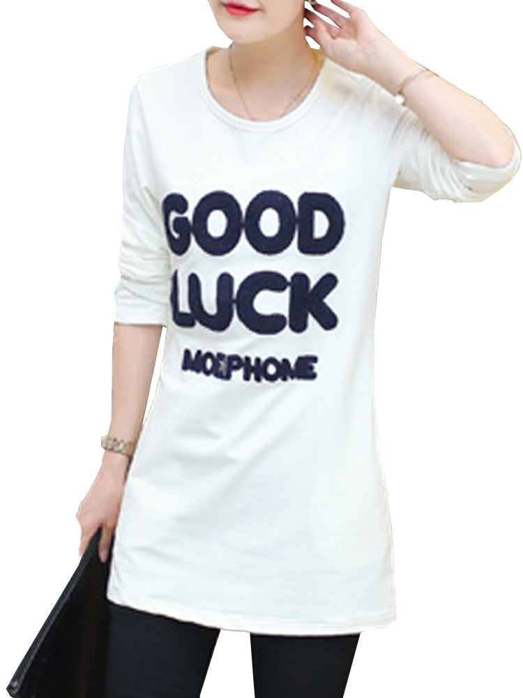 Women's Sweatshirt Letter Long Sleeve O Neck Solid Color Sweatshirt