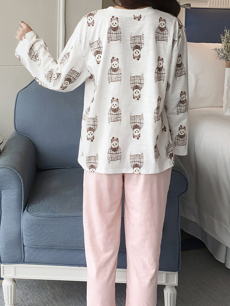 Women's Pajama Set Cute Panda Graphic Long Sleeve Top Solid Color Pants Home Suit
