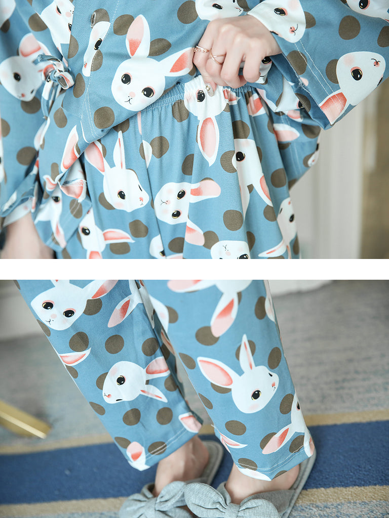Women's Sleepwear Set Cute Rabbit Graphic V Neck Long Sleeve Sweet Home Suit