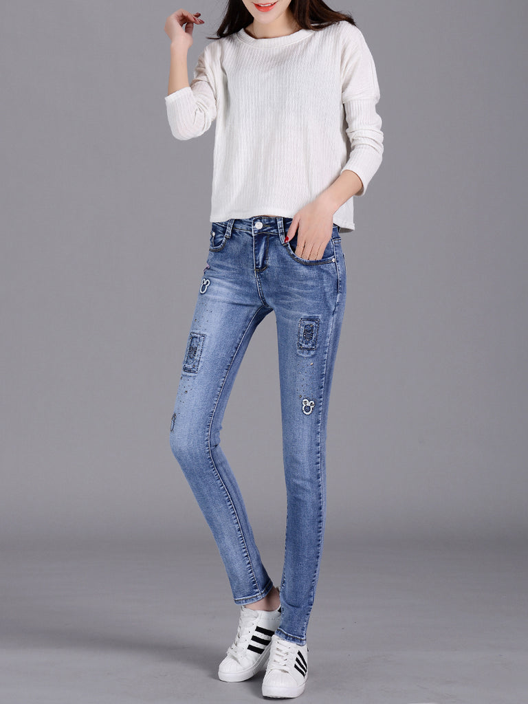 Women's Denim Pants Embroidery Solid Skinny Jeans
