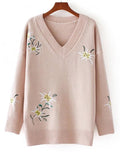 Women's Sweater V Neck Floral Embroidery Slim Top