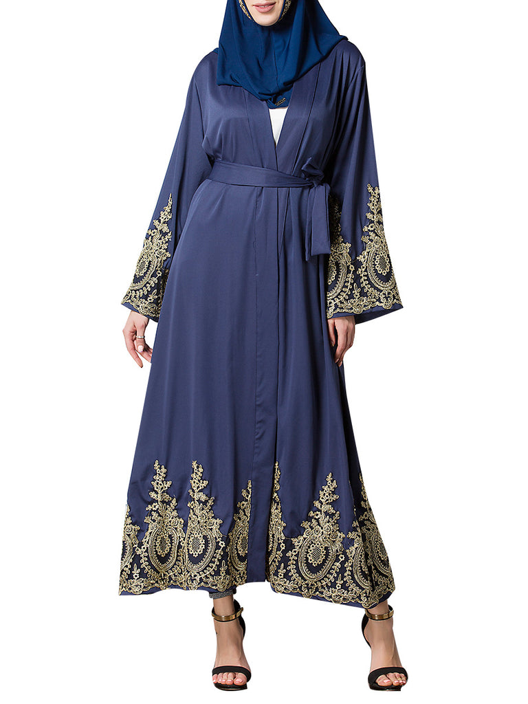 Women's Arabian Clothing Long Sleeve Floral Patchwork Plus Size Kaftan Dress