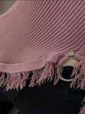 Women's Sweater Long Sleeve Tassel Decoration Solid Color Slim Fit Knitwear