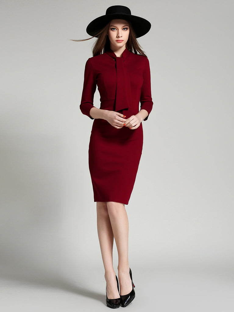 Women's Sheath Dress Stand Collar Solid Color Dress
