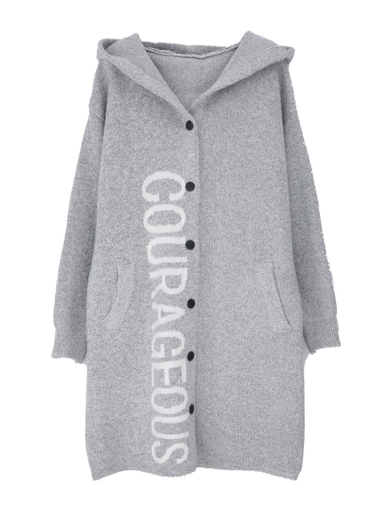 Women's Cardigan Hooded Letter Pattern Long Sleeve Cardigan