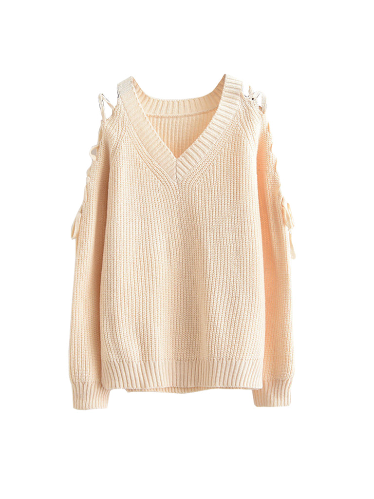 Women's Pullover V Neck Hollow Out Solid Sweater