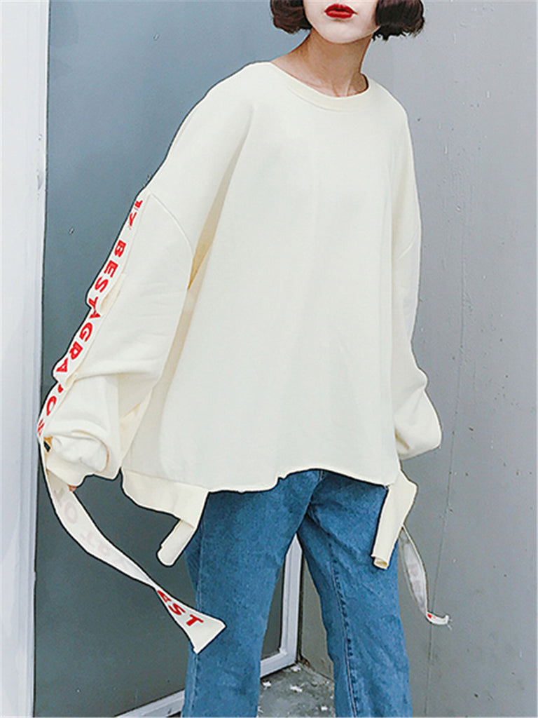 Women's Sweatshirt Letter Ribbon Loose Sweatshirt