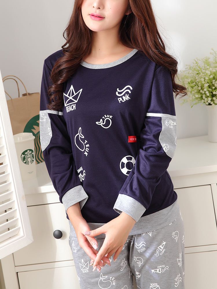 Women's 2 Pcs Sleepwear Cute Cartoon Pattern Patchwork Long Sleeve O Neck Comfy Home Suit