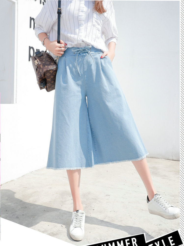 Women's Jeans Solid Color High Waist Cropped Wide Leg Jeans