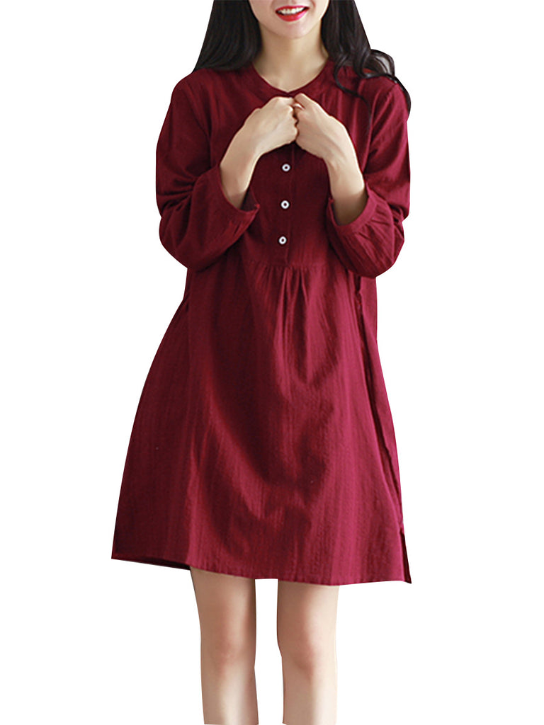 Women's Dress Stylish O Neck Solid Waist Design Pastoral All Match Sweet Dress