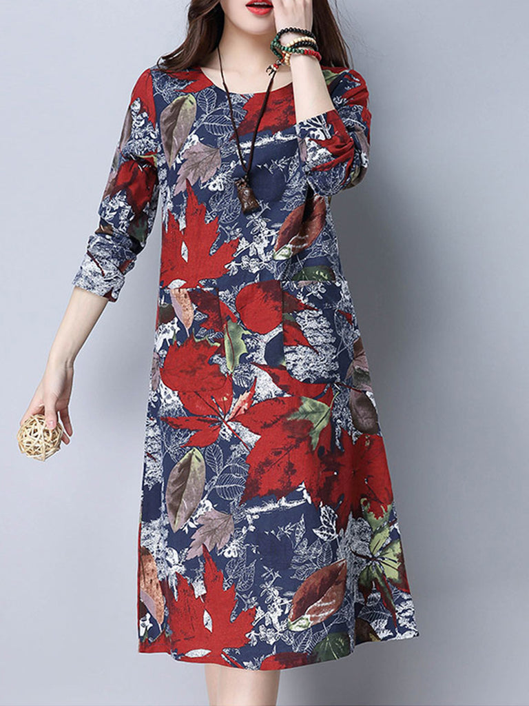 Women's Dress Fashionable Floral Printed Long Sleeve Loose Comfy Pastoral Dress