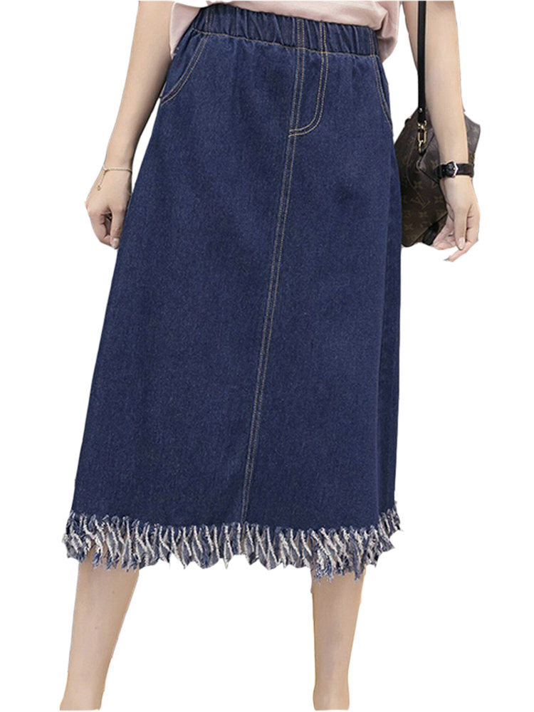 Women's Denim Skirt Solid Color High Waist Plus Size Casual Skirt