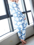 Women's Home Suit Sweet Floral Spaghetti Straps Top Long Sleeve Robe Cozy Pajama Set