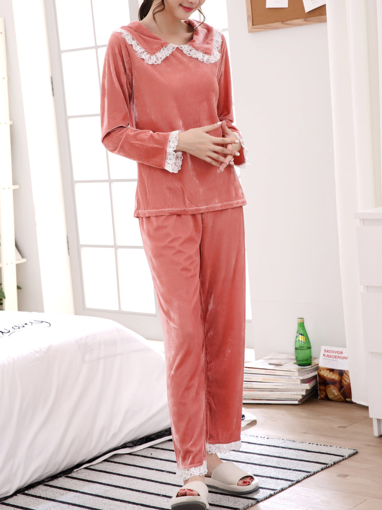 Women's Sleepwear Set Sweet Floral Lace Hem Peter Pan Collar Long Sleeve Cozy Home Suit