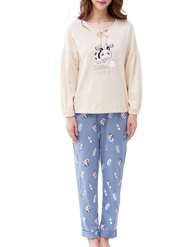 Women's Pajama Set Cute Milk Cow Pattern O Neck Long Sleeve Sweet Cozy Home Suit