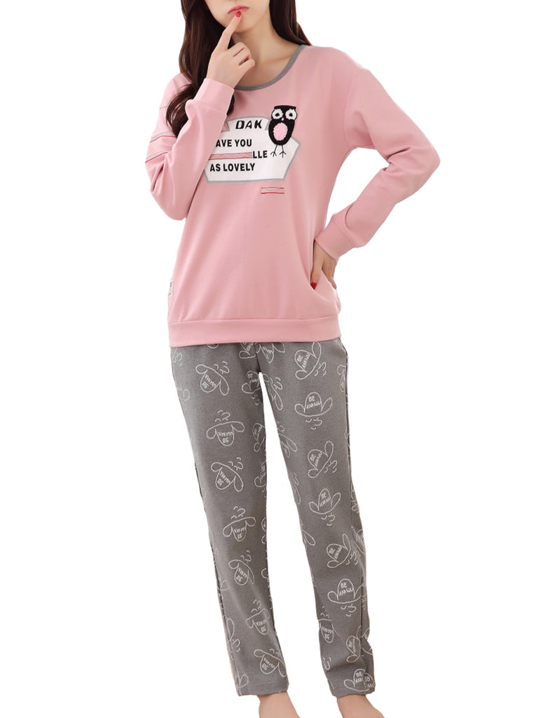 Women's Pajama Set Cute Letters Animal Cartoon Pattern O Neck Long Sleeve Sweet Home Suit