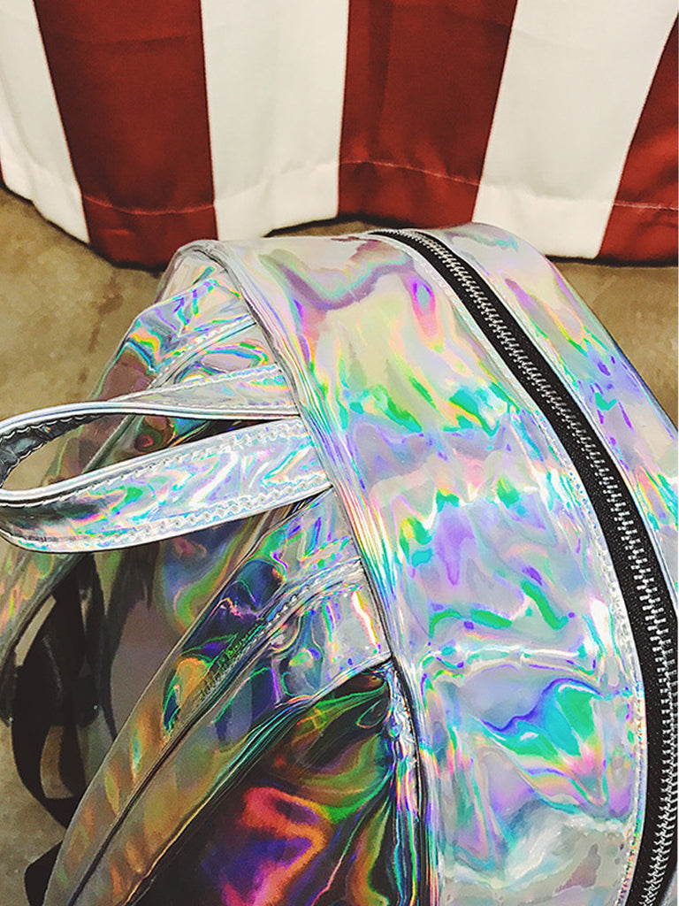 Women's Backpack Fashion Laser Pattern Colorful Personality Simple Back Bag