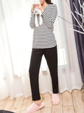 Women's Sleepwear Set Striped Long Sleeve Top Solid Color Pants Casual Home Suit