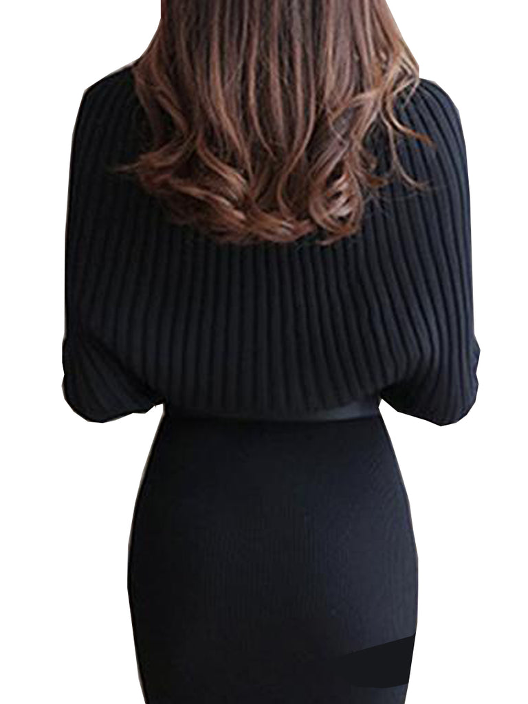 Women's Dress Slash Neck Long Sleeve Solid Patchwork Sheath Dress