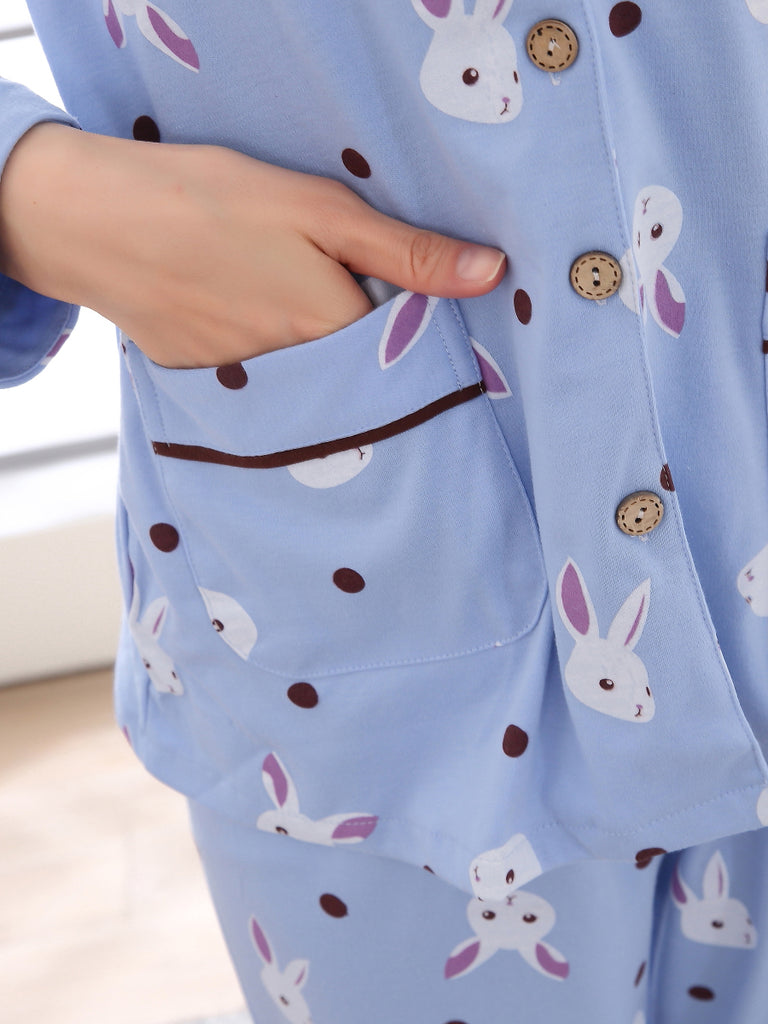 Women's 2 Pcs Sleepwear Cute Cartoon Rabbit Pattern Long Sleeve Turn Down Collar Sweet Home Suit