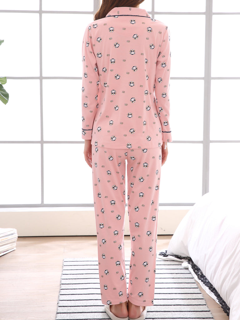 Women's 2 Pcs Sleepwear Cute Cartoon Pattern Long Sleeve Turn Down Collar Comfy Home Suit