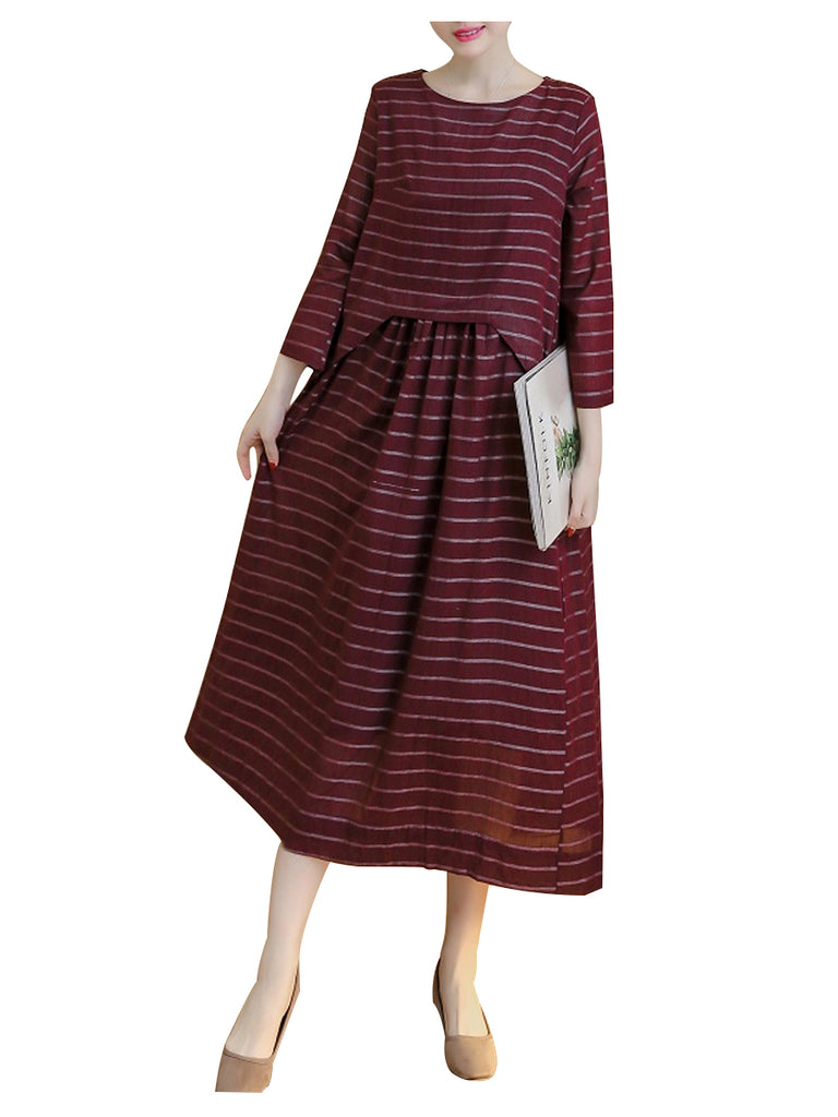 Women's Aline Dress Three Quarters Sleeve Striped Pattern Midi Dress