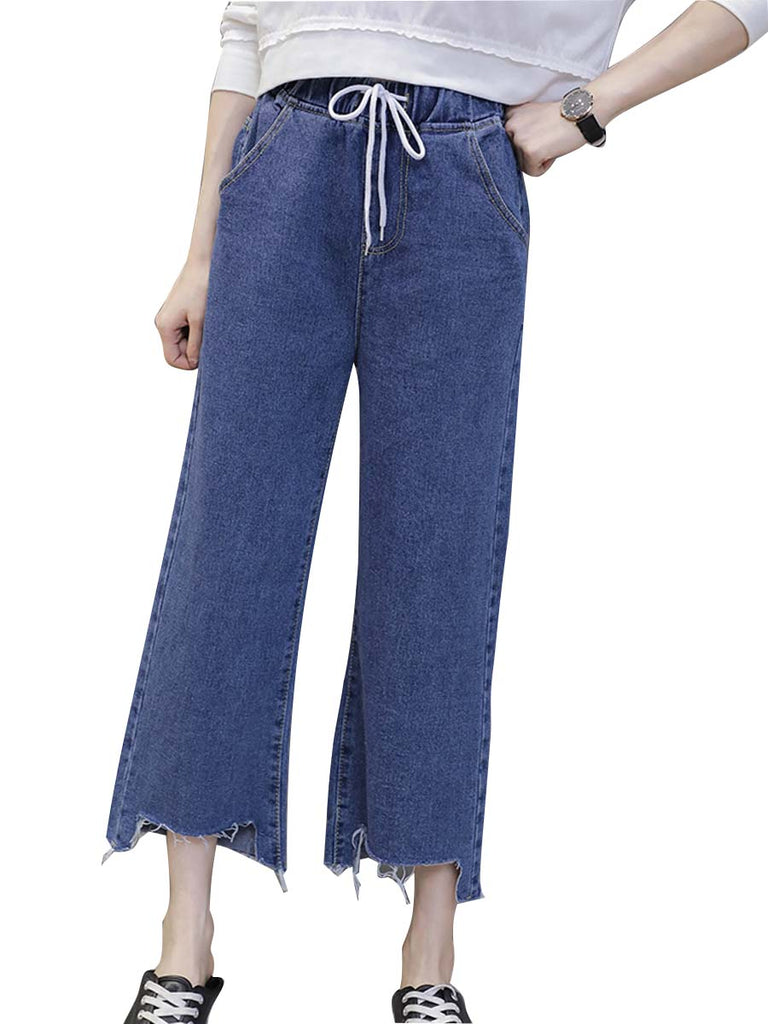 Women's Jeans Elastic Drawstring Waist Solid Color Jeans