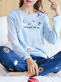 Women's 2 Pcs Sleepwear Letter Pattern Long Sleeve O Neck Comfy Home Suit