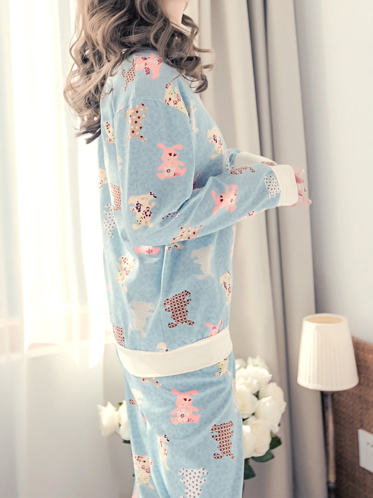 Women's 2 Pcs Sleepwear Cute Cartoon Pattern Long Sleeve O Neck Comfy Home Suit