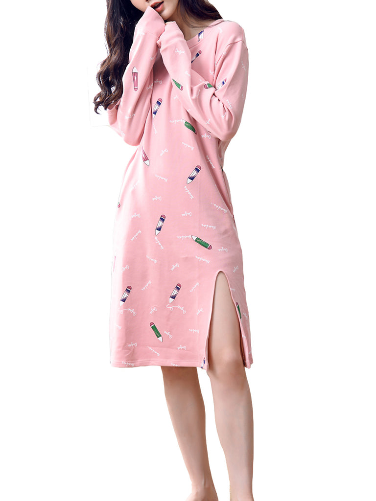 Women's Sleep Dress Cute Cartoon Pencil Pattern Long Sleeve O Neck Cozy Sleepwear